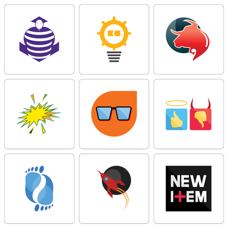 Set Of 9 simple editable icons such as new item, rocket, podiatry, good bad, nerd glasses, starburst, taurus professional, problem management, purple cobras, can be used for mobile, web