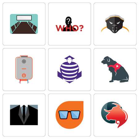 Set Of 9 simple editable icons such as taurus professional, nerd glasses, dress code, service dog, purple cobras, boiler, honey badger, mystery person, conference room, can be used for mobile, web