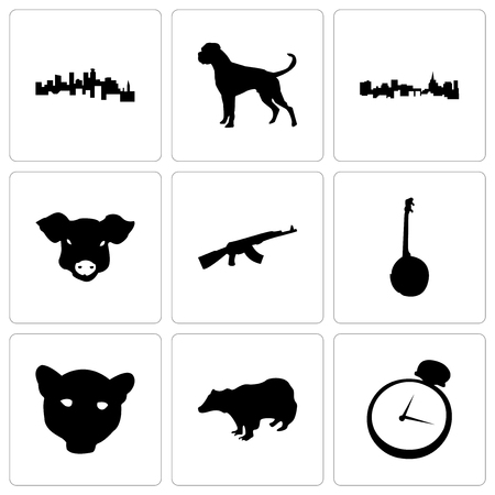 Set Of 9 simple editable icons such as pocket watch, badger, jaguar face, banjo, ak47, pig st paul, boxer dog, minnesota, can be used for mobile, web
