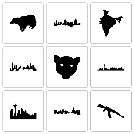 Set Of 9 simple editable icons such as ak47, st paul, seattle, las vegas, jaguar face, charlotte, india map, cincinnati, badger, can be used for mobile, web