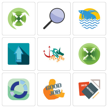 Set Of 9 simple editable icons such as homework, good job, sector, extend, myth, upgrade, betta fish, focus group, can be used for mobile, web  イラスト・ベクター素材
