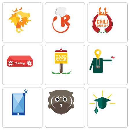 Set Of 9 simple editable icons such as education, free owl, phone, tour guide, yard sale, catering, chili cook off, resturant, de, can be used for mobile, web