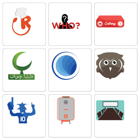 Set Of 9 simple editable icons such as conference room, boiler, sports fan, free owl, globe, bismillah, catering, mystery person, resturant, can be used for mobile, web