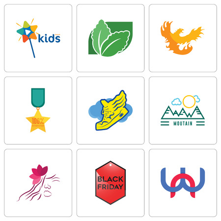 Set Of 9 simple editable icons such as wn, black friday, parlour, moutain, shoe with wings, 100% satisfaction, phoenix, stevia, kids channel, can be used for mobile, web