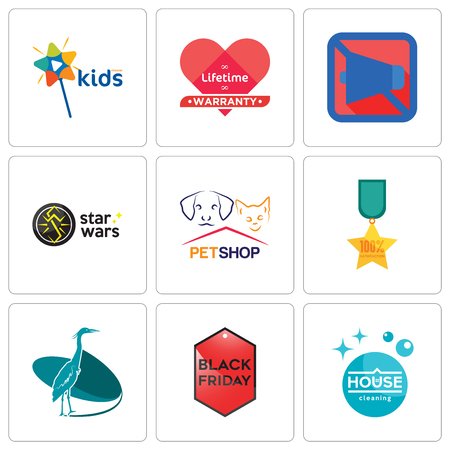 Set Of 9 simple editable icons such as house cleaning, black friday, heron, 100% satisfaction, petshop, star wars, mobile silent, lifetime warranty, kids channel, can be used for mobile, web