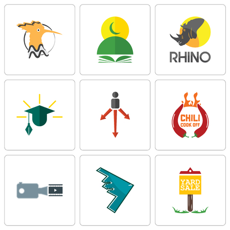 Set Of 9 simple editable icons such as yard sale, stealth bomber, footage, chili cook off, approach, education, rhino, quran, hoopoe, can be used for mobile, web