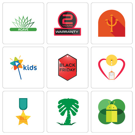 Set Of 9 simple editable icons such as mobile os a, saudi palm, 100% satisfaction, breastfeeding, black friday, kids channel, psi, 2 years warranty, agave, can be used for mobile, web