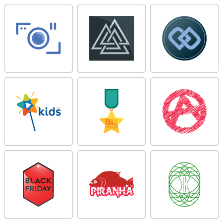 Set Of 9 simple editable icons such as celtic tree of life, piranha, black friday, anarchy, 100% satisfaction, kids channel, double d, valknut, camera, can be used for mobile, web