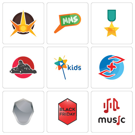 Set Of 9 simple editable icons such as music, black friday, shield, medicare, kids channel, kart, 100% satisfaction, mms, nova, can be used for mobile, web