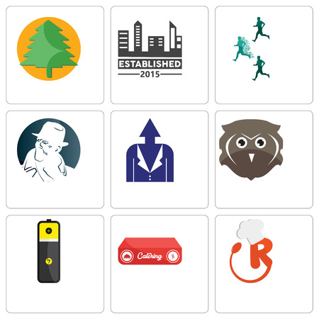 Set Of 9 simple editable icons such as resturant, catering, lithium battery, free owl, personal development, detective, competitive advantage, established, pinetree, can be used for mobile, web