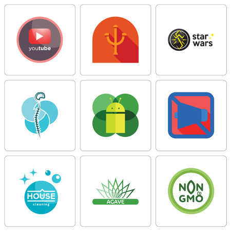 Set Of 9 simple editable icons such as non gmo, agave, house cleaning, mobile silent, os a, neurosurgery, star wars, psi, pinetree, can be used for mobile, web