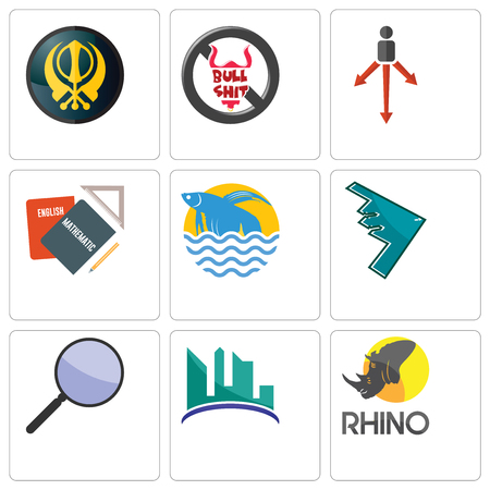 Set Of 9 simple editable icons such as rhino, contruction, focus group, stealth bomber, betta fish, homework, approach, no bullshit, khanda, can be used for mobile, web