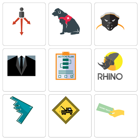 Set Of 9 simple editable icons such as money back guarantee, towing, stealth bomber, rhino, action plan, dress code, honey badger, service dog, approach, can be used for mobile, web Illustration