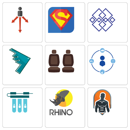 Set Of 9 simple editable icons such as fitness, rhino, water filter, tidy, car seat, stealth bomber, generic, s, approach, can be used for mobile, web