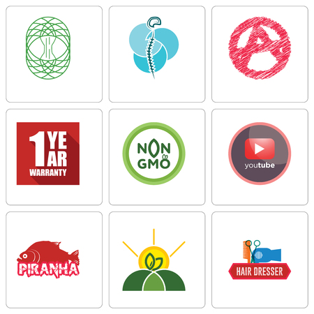 Set Of 9 simple editable icons such as hair dresser, agro, piranha, pinetree, non gmo, 1 year warranty, anarchy, neurosurgery, celtic tree of life, can be used for mobile, web