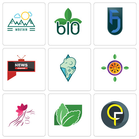 Set Of 9 simple editable icons such as qf, stevia, parlour, passion fruit, rams, all news channel, jf, biodegradable, moutain, can be used for mobile, web