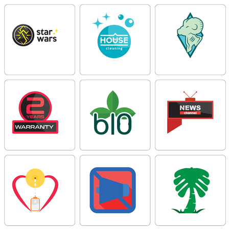 Set Of 9 simple editable icons such as saudi palm, mobile silent, breastfeeding, all news channel, biodegradable, 2 years warranty, rams, house cleaning, star wars, can be used for mobile, web Illusztráció