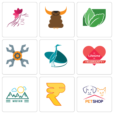 Set Of 9 simple editable icons such as petshop, rupees, moutain, lifetime warranty, heron, appliance repair, stevia, bullshit, parlour, can be used for mobile, web