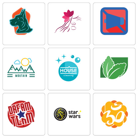 Set Of 9 simple editable icons such as aum, star wars, dream team, stevia, house cleaning, moutain, mobile silent, parlour, great dane, can be used for mobile, web Stock Vector - 102255395