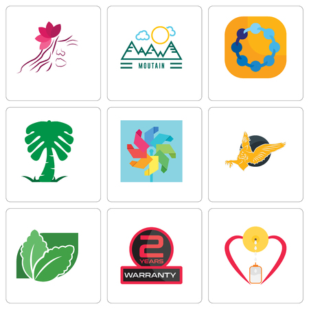 Set Of 9 simple editable icons such as breastfeeding, 2 years warranty, stevia, gryphon, pinwheel, saudi palm, teamspirit, moutain, parlour, can be used for mobile, web