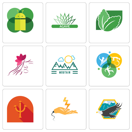 Set Of 9 simple editable icons such as eagle, electrical contractor, psi, swim bike run, moutain, parlour, stevia, agave, mobile os a, can be used for mobile, web