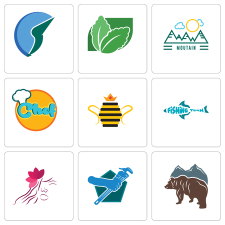 Set Of 9 simple editable icons such as free bear, plumber, parlour, fishing team, queen bee, chef, moutain, stevia, trading co, can be used for mobile, web