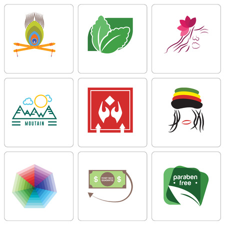Set Of 9 simple editable icons such as paraben free, money back guarantee, heptagon, rastaman, fragile handle with care, moutain, parlour, stevia, krishna, can be used for mobile, web