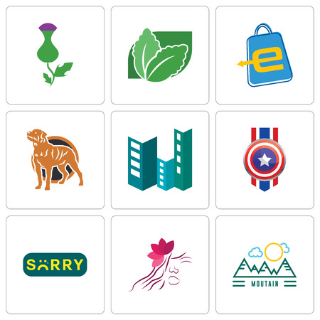 Set Of 9 simple editable icons such as moutain, parlour, sorry, captain america, construction, rottweiler, eshop, stevia, thistle, can be used for mobile, web