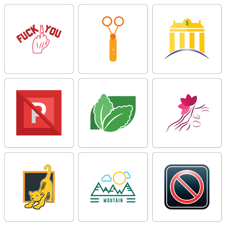 Set Of 9 simple editable icons such as restricted entry, moutain, lion cub, parlour, stevia, no parking, banque, scissors, fuck you, can be used for mobile, web Stock Vector - 102287987