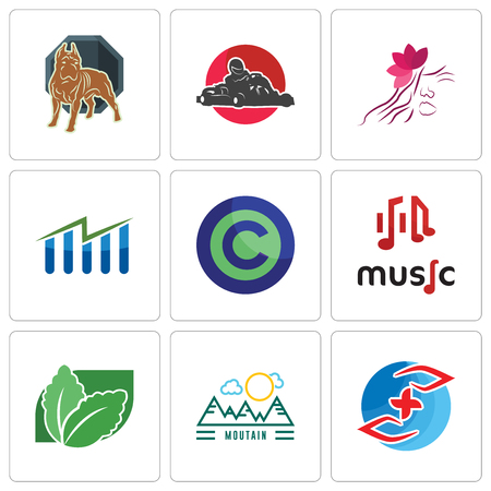 Set Of 9 simple editable icons such as medicare, moutain, stevia, music, copyright free, free stock, parlour, kart, pit bull, can be used for mobile, web