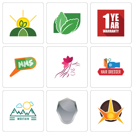 Set Of 9 simple editable icons such as nova, shield, moutain, hair dresser, parlour, mms, 1 year warranty, stevia, agro, can be used for mobile, web