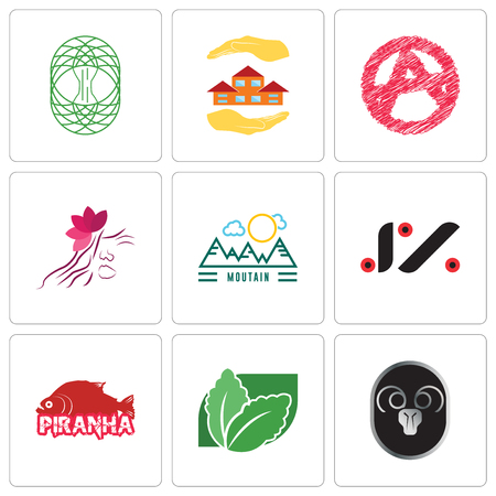 Set Of 9 simple editable icons such as ram, stevia, piranha, jz, moutain, parlour, anarchy, realtor, celtic tree of life, can be used for mobile, web Stock Vector - 102149759