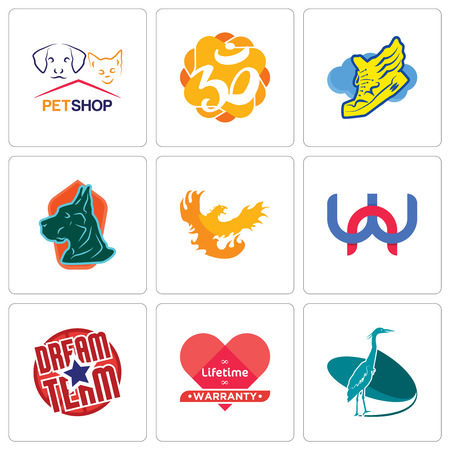 Set Of 9 simple editable icons such as heron, lifetime warranty, dream team, wn, phoenix, great dane, shoe with wings, aum, petshop, can be used for mobile, web Illustration