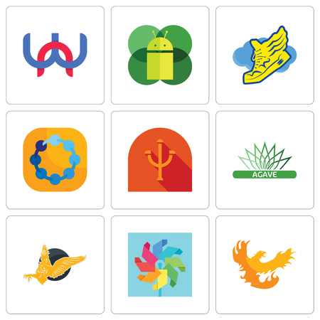 Set Of 9 simple editable icons such as phoenix, pinwheel, gryphon, agave, psi, teamspirit, shoe with wings, mobile os a, wn, can be used for mobile, web