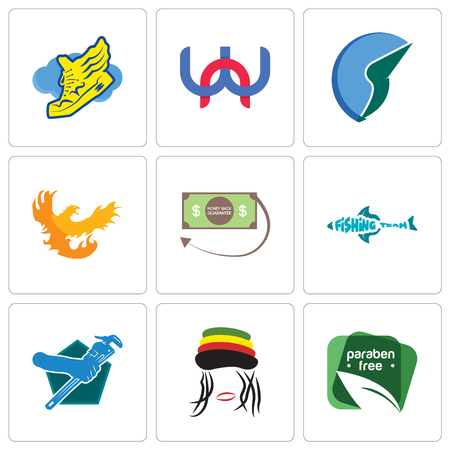 Set Of 9 simple editable icons such as paraben free, rastaman, plumber, fishing team, money back guarantee, phoenix, trading co, wn, shoe with wings, can be used for mobile, web