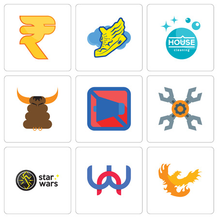 Set Of 9 simple editable icons such as phoenix, wn, star wars, appliance repair, mobile silent, bullshit, house cleaning, shoe with wings, rupees, can be used for mobile, web