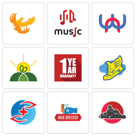 Set Of 9 simple editable icons such as kart, hair dresser, medicare, shoe with wings, 1 year warranty, agro, wn, music, phoenix, can be used for mobile, web