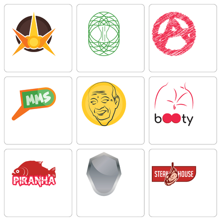 Set Of 9 simple editable icons such as steakhouse, shield, piranha, booty, patel, mms, anarchy, celtic tree of life, nova, can be used for mobile, web