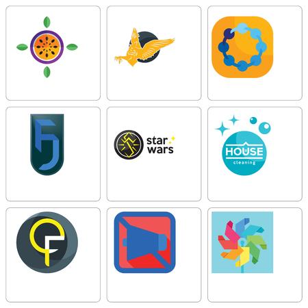 Conjunto de 9 iconos editables sencillos como molinete, móvil silencioso, qf, limpieza de la casa, star wars, jf, teamspirit, gryphon, maracuyá, puede utilizarse para móviles, web