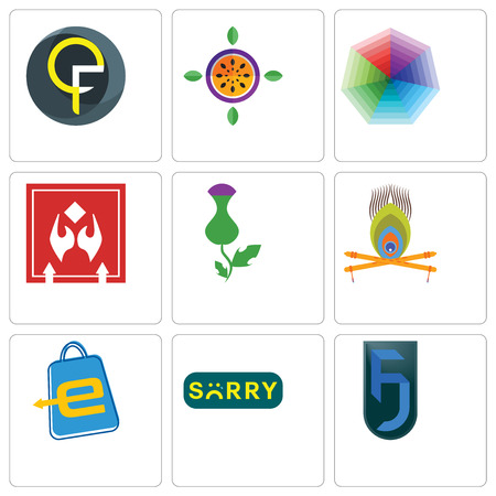 Set Of 9 simple editable icons such as jf, sorry, eshop, krishna, thistle, fragile handle with care, heptagon, passion fruit, qf, can be used for mobile, web