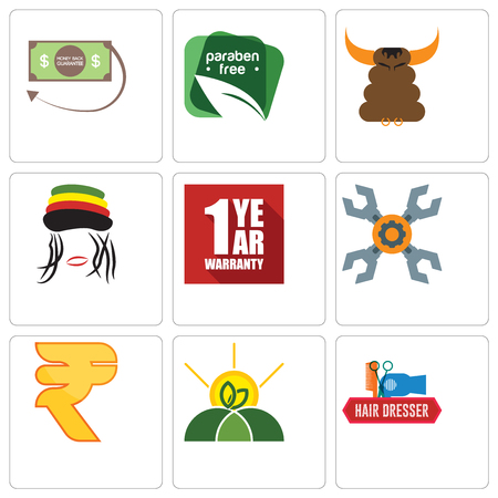 Set Of 9 simple editable icons such as hair dresser, agro, rupees, appliance repair, 1 year warranty, rastaman, bullshit, paraben free, money back guarantee, can be used for mobile, web