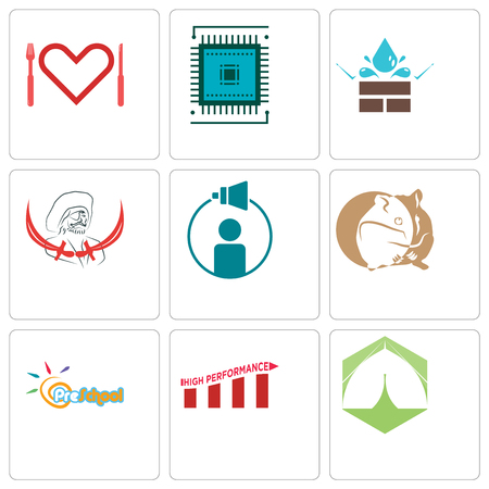 Set Of 9 simple editable icons such as marquee, high performance, preschool, hamster, campaign management, pirate, water resistant, sem, appetite, can be used for mobile, web 일러스트
