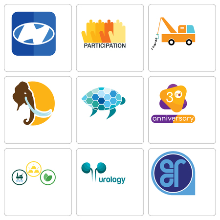 Set Of 9 simple editable icons such as er, urology, commodities, 3rd anniversary, sea turtle, mammoth, tow truck, participation, h, can be used for mobile, web