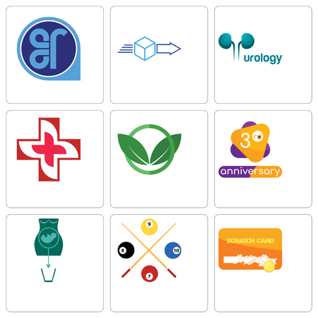 Set Of 9 simple editable icons such as scratch card, snooker, abortion, 3rd anniversary, eco club, image of cross, urology, dispatch, er, can be used for mobile, web