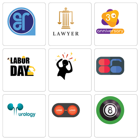 Set Of 9 simple editable icons such as 8 ball pool, convert, urology, 86, panic, labor day, 3rd anniversary, lawyer, er, can be used for mobile, web