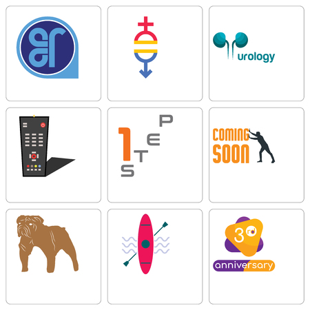 Set Of 9 simple editable icons such as 3rd anniversary, kayak, bulldog, soon, step 1, tv remote, urology, gender equality, er, can be used for mobile, web