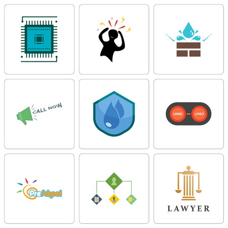 Set Of 9 simple editable icons such as lawyer, order management, preschool, convert, water resistant, call now, panic, sem, can be used for mobile, web