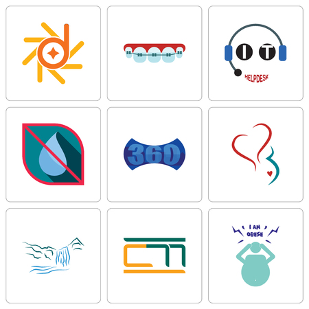 Set Of 9 simple editable icons such as obesity, waterfall, gynecology, 360 image, no water, it helpdesk, orthodontist, d-star, can be used for mobile, web
