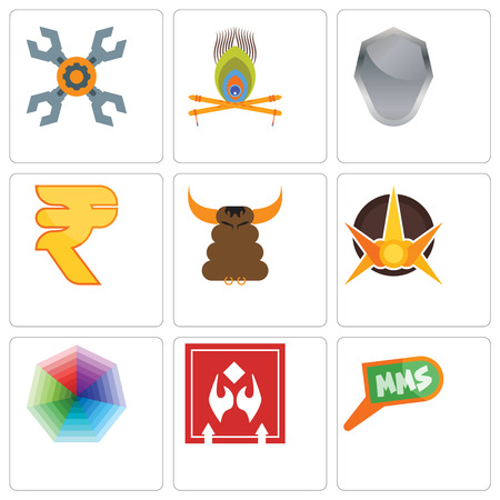 Set Of 9 simple editable icons such as mms, fragile handle with care, heptagon, nova, bullshit, rupees, shield, krishna, appliance repair, can be used for mobile, web Illustration