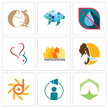 Set Of 9 simple editable icons such as marquee, campaign management, d-star, mammoth, participation, gynecology, no water, sea turtle, hamster, can be used for mobile, web  イラスト・ベクター素材